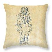1973 Astronaut Space Suit Patent Artwork - Vintage Throw Pillow