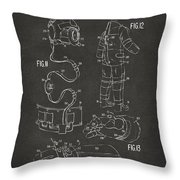 1973 Space Suit Elements Patent Artwork - Gray Throw Pillow by Nikki Marie Smith