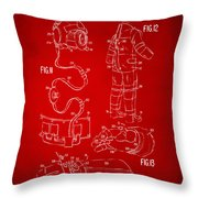 1973 Space Suit Elements Patent Artwork - Red Throw Pillow