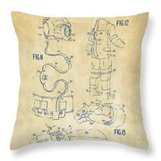 1973 Space Suit Elements Patent Artwork - Vintage Throw Pillow