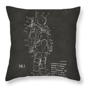 1973 Space Suit Patent Inventors Artwork - Gray Throw Pillow
