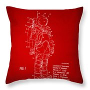1973 Space Suit Patent Inventors Artwork - Red Throw Pillow by Nikki Marie Smith