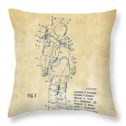 1973 Space Suit Patent Inventors Artwork - Vintage Throw Pillow by Nikki Marie Smith