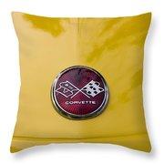 1976 Canary Yellow Vette Hood Emblem Throw Pillow