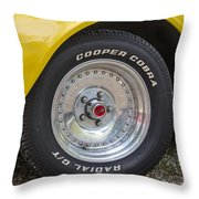 1976 Canary Yellow Vette Wheel Throw Pillow