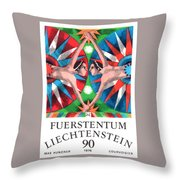 1976 Liechtenstein Gemini Postage Stamp Throw Pillow