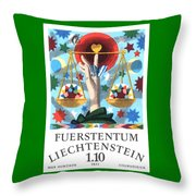 1977 Liechtenstein Libra Postage Stamp Throw Pillow