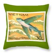 1984 Vietnam Flying Fish Postage Stamp Throw Pillow