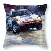 1986 Porsche 959/50 #185 2nd Dakar Rally Raid Ickx, Brasseur Throw Pillow
