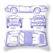 1990 Porsche 911 Patent Blueprint Throw Pillow