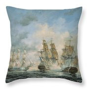 19th Century Naval Engagement In Home Waters Throw Pillow by Richard Willis