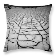 1a6832 Bw Mud Cracks In Death Valley Throw Pillow