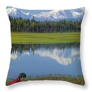 1m1326 Wife And Son In Denali National Park Throw Pillow