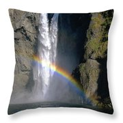 1m4716 Snoqualmie Falls And Rainbow Throw Pillow