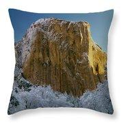 1m6576-winter On El Capitan In 1970 Throw Pillow