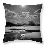 1m9203 Sunburst Over The Snake River, Tetons Throw Pillow