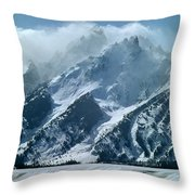 1m9314 Clouds Over The Tetons Throw Pillow