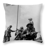 1st Flag Raising On Iwo Jima  Throw Pillow
