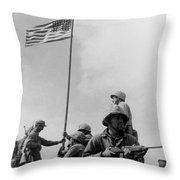 1st Flag Raising On Iwo Jima  Throw Pillow