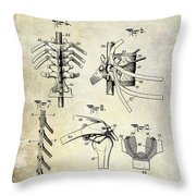 1911 Anatomical Skeleton Patent Throw Pillow