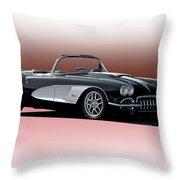 1958 Corvette 'retro' Convertible Throw Pillow