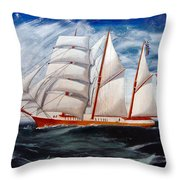3 Master Tall Ship Throw Pillow