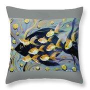8 Gold Fish Throw Pillow