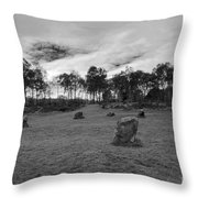 9 Ladies Stone Circle, Stanton Moor, Peak District National Park Throw Pillow