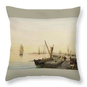 A Busy Harbour Throw Pillow