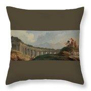 A Colonnade In Ruins Throw Pillow