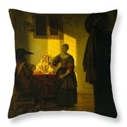 A Couple Playing Cards With A Serving Woman Throw Pillow