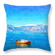 A Digitally Constructed Painting Of A Small Fishing Boat  With Snow Covered Mountains In Antalya Turkey Throw Pillow