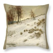 A Flock Of Sheep In A Snowstorm Throw Pillow