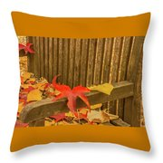 A Foliage Pillow On A Bench In A Woodland Throw Pillow
