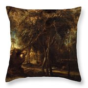 A Forest At Dawn With A Deer Hunt Throw Pillow