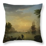 A Landscape At Sunset Throw Pillow