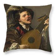 A Man Playing A Lute Throw Pillow