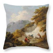 A Mother And Child Watching Workman In A Quarry, Throw Pillow