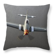 A North American P-51 Mustang In Flight Throw Pillow