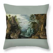 A Rocky Landscape With Travelers Throw Pillow