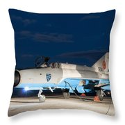 A Romanian Air Force Mig-21c Airplane Throw Pillow