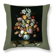 A Still Life Of Flowers Throw Pillow