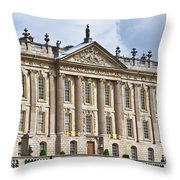 A View Of Chatsworth House, Great Britain Throw Pillow