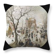 A Winter Scene With Skaters Near A Castle Throw Pillow