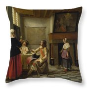 A Woman Drinking With Two Men Throw Pillow