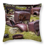 Abandoned Cars, Bodie Ghost Town Throw Pillow