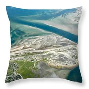 Aerial Vew Of Sandy Neck Beach In Barnstable On Cape Cod Massac Throw Pillow