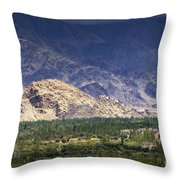 Aerial View Of Leh City Landscape Ladakh Jammu And Kashmir India Throw Pillow