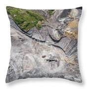 Aerial View Over The Building Materials Processing Factory. Throw Pillow