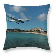Air Caraibes Landing At St. Maarten Throw Pillow